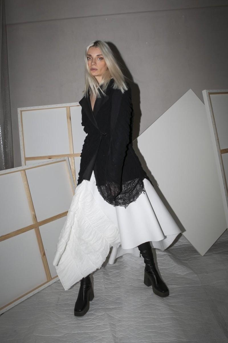 Skirt, long, asymmetric, distressed parts