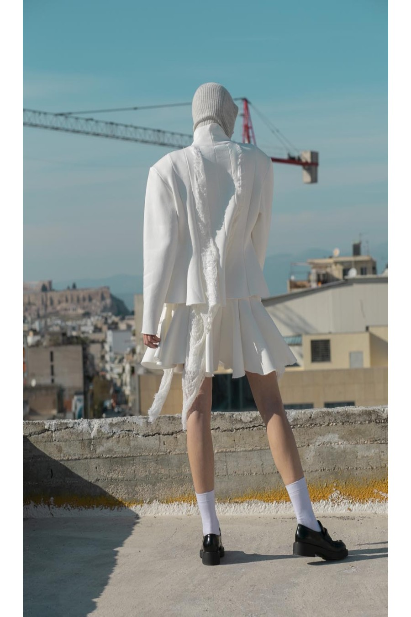 Skirt, a-line, distressed parts, asymmetric