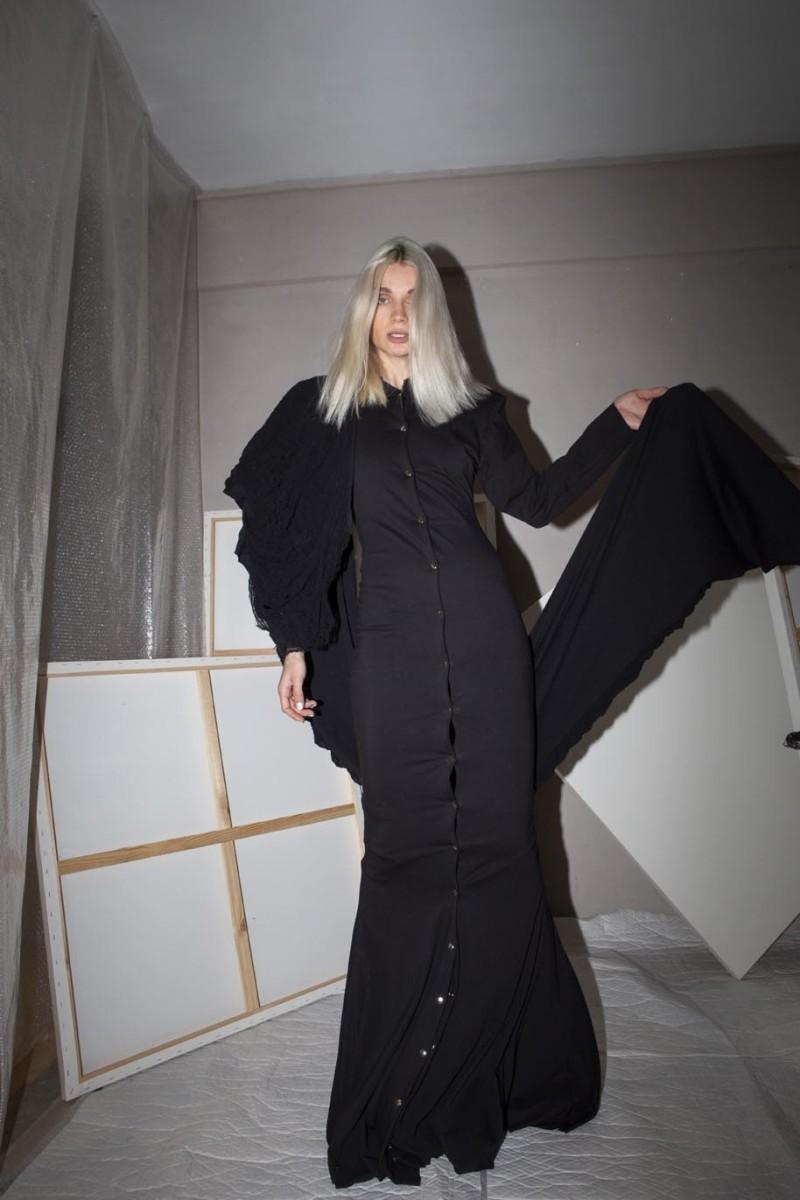 Maxi dress, metallic silver snaps, hoodie